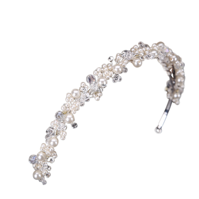 ATHENA COLLECTION - PEARL CLUSTER HEADBAND - SILVER AHB-54