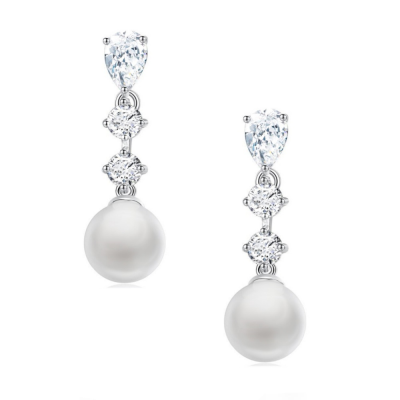 Cubic Ziconia  Collection - Simply Sparkle Pearl Earrings - CZER391