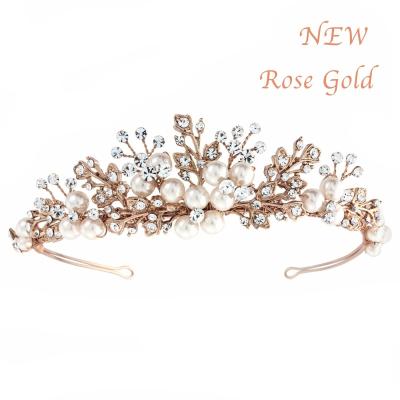 TESS LUXE PEARL TIARA - (ROSE GOLD) TIARA 3 -SASSB RG