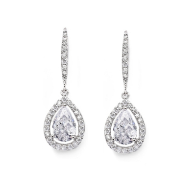 CUBIC ZIRCONIA COLLECTION - SHIMMERING CRYSTAL EARRINGS - CZER490 - SILVER