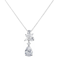 CUBIC ZIRCONIA COLLECTION - EXQUISITE STARLET NECKLACE - CZNK90 - SILVER