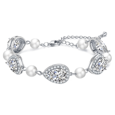 CUBIC ZIRCONIA COLLECTION - EXQUISITE PEARL BRACELET - SILVER -BR121