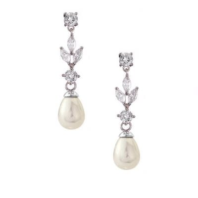 CUBIC ZIRCONIA COLLECTION - DAINTY PEARL EARRINGS - CZER458