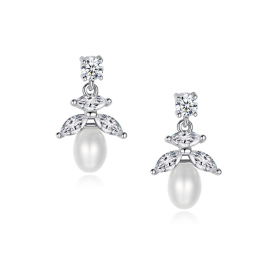 CUBIC ZIRCONIA COLLECTION - PRETTY PETITE PEARL EARRINGS - CZER492 SILVER