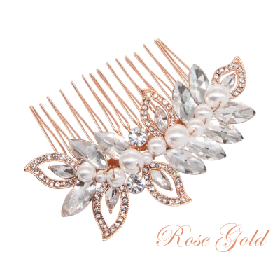 ATHENA COLLECTION - PEARL SHIMMER HAIR COMB - (HC192) ROSE GOLD