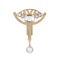 ATHENA COLLECTION - GATSBY STYLE BROOCH - GOLD - BROOCH48