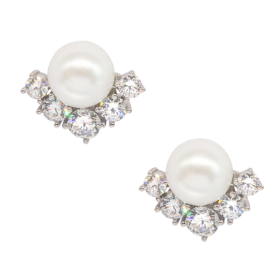 CUBIC ZIRCONIA COLLECTION - ELEGANCE PEARL EARRINGS - CZER544 SILVER