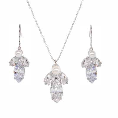 CUBIC ZIRCONIA COLLECTION - SIMPLY SPARKLE NECKLACE SET - NK136 SILVER