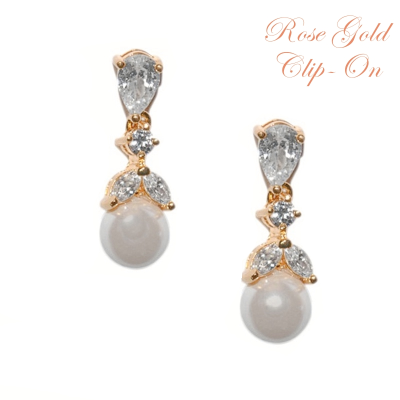 CUBIC ZIRCONIA COLLECTION - CLIP ON GRACEFUL PEARL EARRINGS - ER346ROSE GOLD