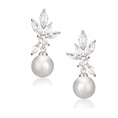 CUBIC ZIRCONIA COLLECTION - CRYSTALLURE PEARL DROP EARRINGS - CZER565- (SILVER )