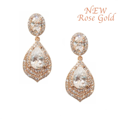 CUBIC ZIRCONIA COLLECTION - GATSBY DAINTY TREASURE EARRINGS - ROSE GOLD (CZER308)