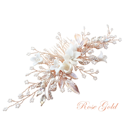 ATHENA COLLECTION -EXQUISITE FLORAL EMBELLISHED HAIR COMB - ROSE GOLD- HC173