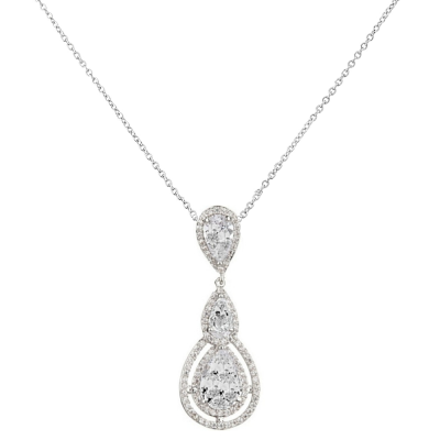 CUBIC ZIRCONIA COLLECTION - CRYSTAL TREASURE NECKLACE - CZNK82 - SILVER