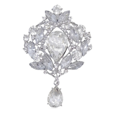 Vintage Glamour Brooch - Clear Crystal