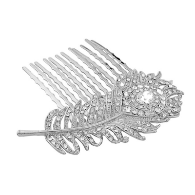Crystal Peacock Feather Bridal hair comb (HC12)