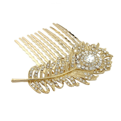 Crystal Peacock Feather Bridal hair comb - GOLD (HC12)