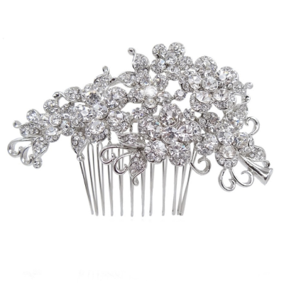 Crystal Flowers Hair Comb - Clear (HC47)