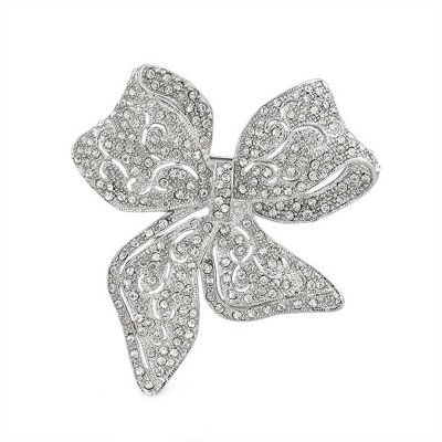 Luxe Crystal Bow Brooch - Clear (Brooch 90)