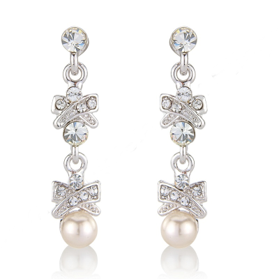 Crystal & Pearls Chic Earrings - Clear (S-ER3)