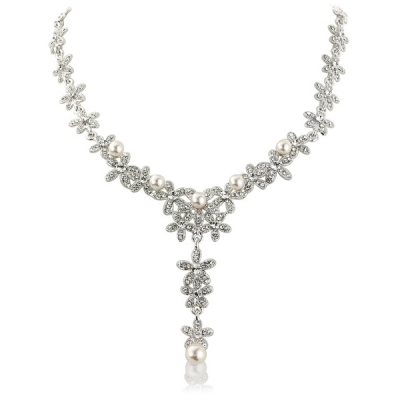Crystal & Pearls Bridal Necklace - Clear (S-NK6)