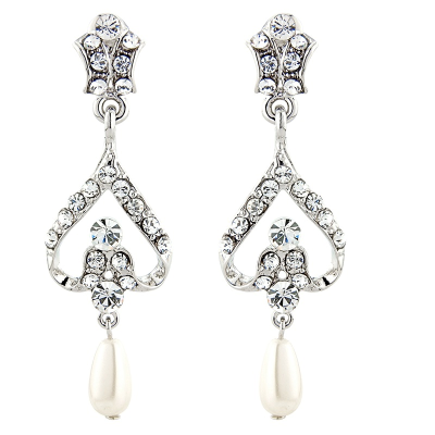 ELITE COLLECTION - Bridal Pearl Earrings - Clear (ELER2)