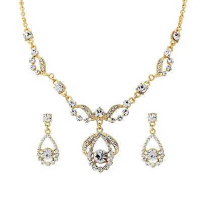 Crystal Bridal Necklace Set - GOLD (Nk195)