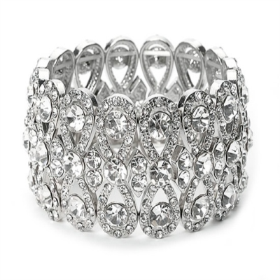 Luxe Crystal Stretch Bracelet - Clear (BR55)
