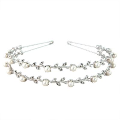 Swarovski Crystal & Pearl Headband - Double Row (S-HB100)