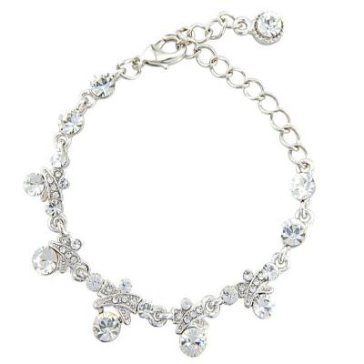 Ornate Crystal Chic Bracelet - Clear Crystal  (S-BR12)