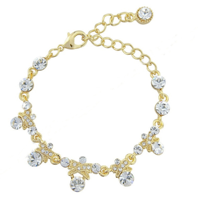 Ornate Crystal Chic Bracelet - Gold  (S-BR13)