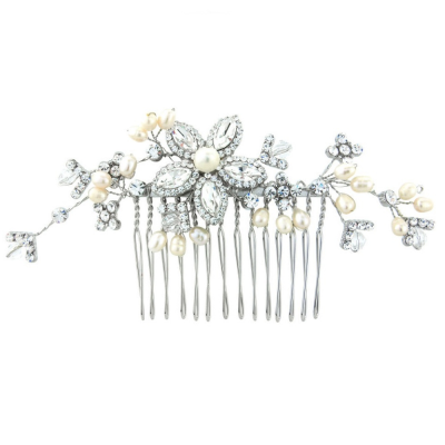 Dazzling Crystal & Pearl Hair Comb - Ivory (HC87)