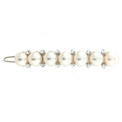 Luxe Crystal & pearl Clip - Ivory (S-HA7)