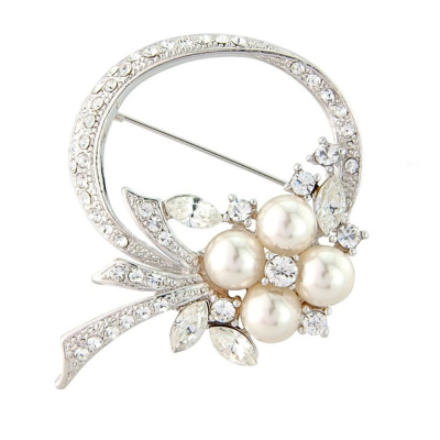 Exquisite CZ Crystal Brooch - Ivory (S- Brooch 2)