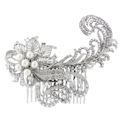 ELITE COLLECTION - Luxe Feather Crystal Comb (HC289)