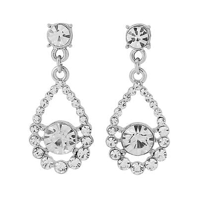 Silver Classic Crystal Earrings - (ER118)