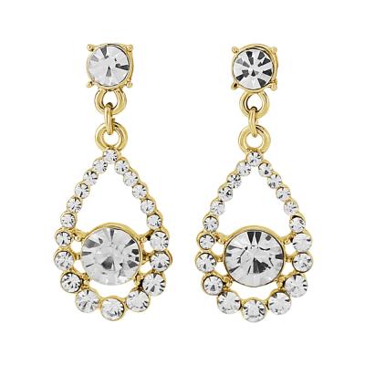 Gold Classic Crystal Earrings - (ER119)