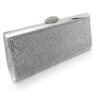 Charlotte Crystal Clutch Bag - silver