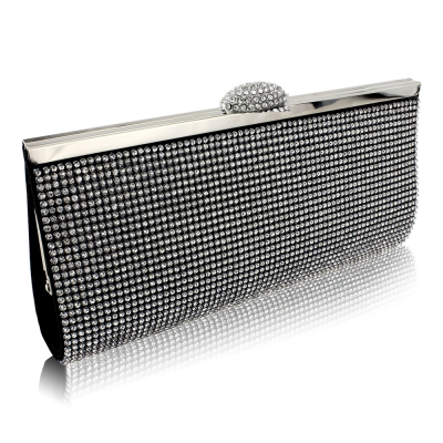 Charlotte Crystal Clutch Bag - Jet