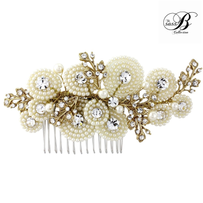 AMELIA LUXE PEARL HAIR COMB - (HC8)  SASSB- GOLD