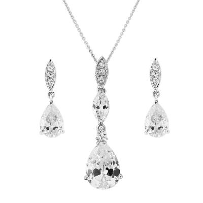 Cubic Zirconia - Bridal Necklace Set - (NK1)