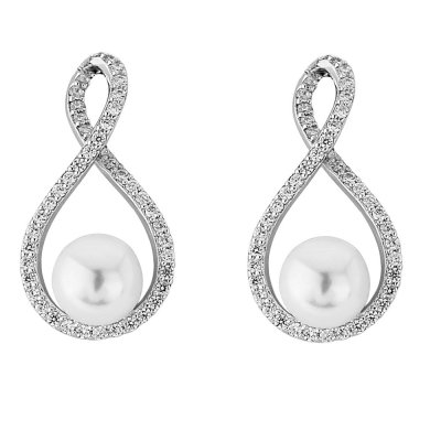 Cubic Zirconia Collection - Exquisite Pearl Earrings (ER305)