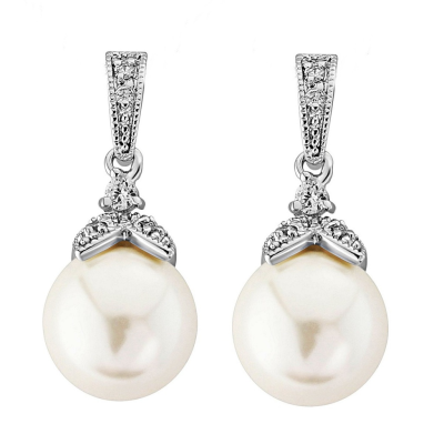 Cubic Zirconia Collection - Opulence Pearl Earrings - (ER307)