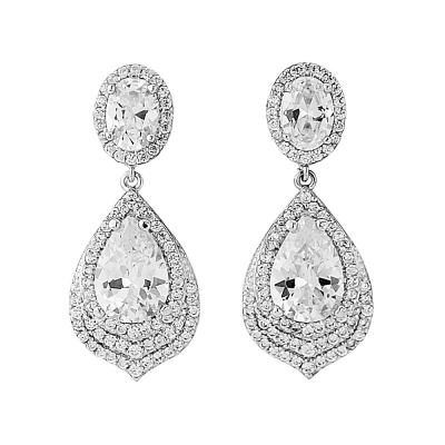 Cubic Zirconia Collection - Gatsby Dainty Treasure Earrings - Silver (ER308)