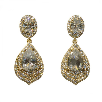 Cubic Zirconia Collection - Gatsby Dainty Treasure Earrings - Gold (ER308)