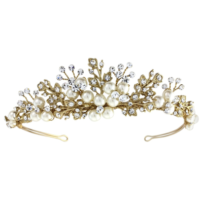 Tess Luxe Pearl Tiara - (14K Gold Plated) Tiara 3 -SASSB