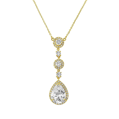 Cubic Zirconia Collection - Eternally Crystal Necklace (Gold) - NK7