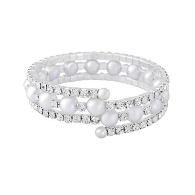 Crystal & Pearl Spiral Bracelet - BR86