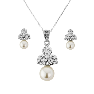 Cubic Zirconia Collection - Chic Starlet Necklace Set - (CZNK8)