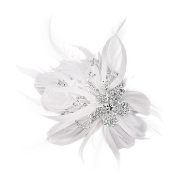 Seraphina Embellished Feather Headpiece - White Feather - SASSB