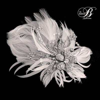 Seraphina Embellished Feather Headpiece - SASSB - Ivory